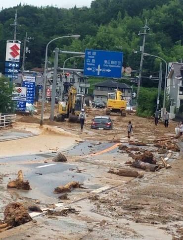 東広島市八本松、大雨被害の様子