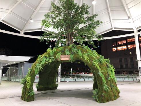 広島駅に癒しの森サマーツリー「安らぎ、発展、復興」の思い込め