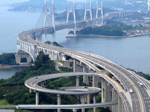瀬戸大橋 与島PAの螺旋道路