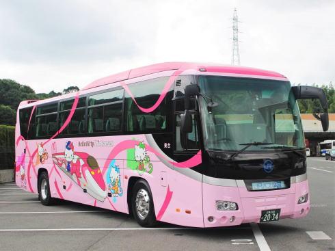 ハローキティ新幹線ラッピングバス「めいぷるとりっぷ」バージョン