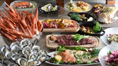 日常離れて 蟹・牡蠣食べ放題ディナーブッフェ、広島プリンスで
