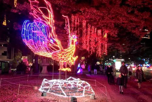 ひろしまドリミネーション2018 光のオブジェ「火の鳥」