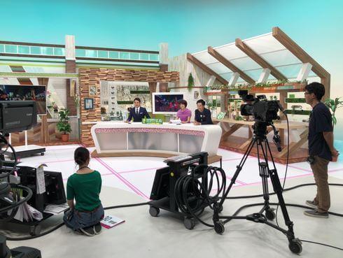 広島テレビ6Fスタジオで「テレビ派」の収録中