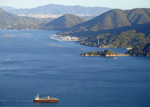 宮島ロープウェイから広島や呉方面の景色