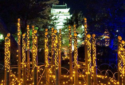 福山城あかりまつり 2018、とんど展示と竹灯り