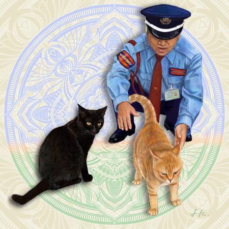 尾道美術館に入りたい猫と阻止する警備員、ほのぼの姿を描いた曼荼羅(にゃんだら)アート