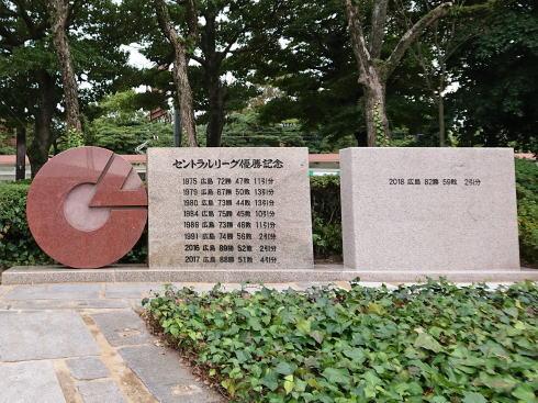勝鯉の森(しょうりのもり)セリーグ優勝記念碑