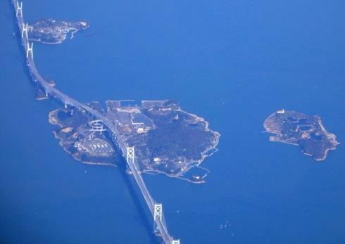 瀬戸大橋と与島(空から)
