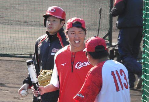 カープユニホームが似合う長野選手
