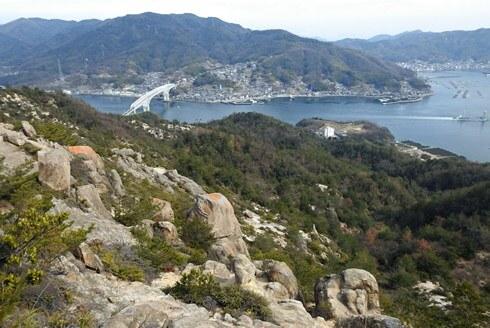 天狗岩から早瀬大橋を見下ろす景色