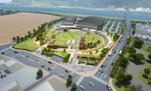 福山市総合体育館と隣接する公園 俯瞰図