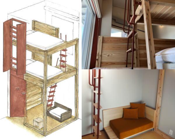 m3ホステル、プライベートルーム(ツインタイプ)客室例
