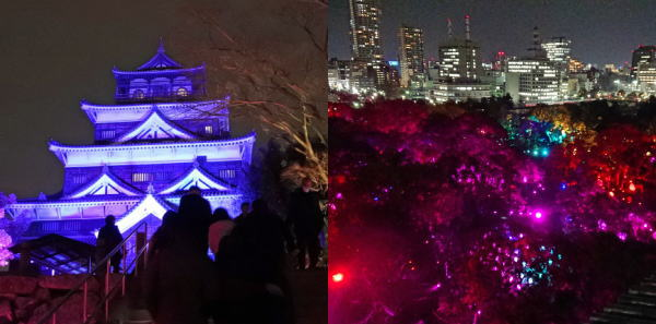 天守閣の開放日が決定「チームラボ 広島城 光の祭り」の夜景を展望室から