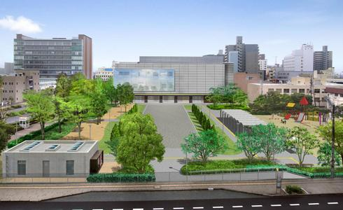 くらら側から見た、東広島市立美術館の外観イメージ
