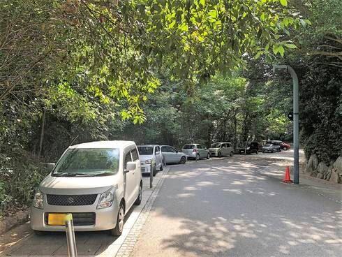 比治山公園 道路脇に駐車場