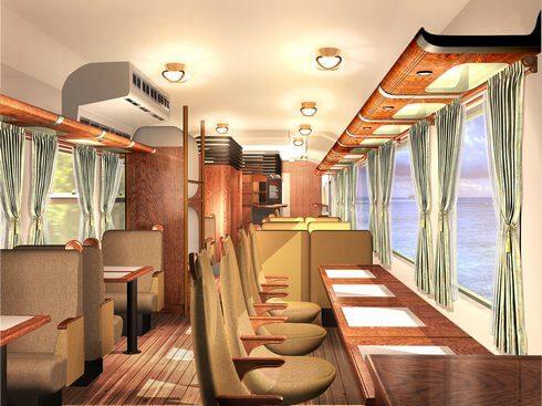 広島の新たな観光列車、1号車の内装イメージ