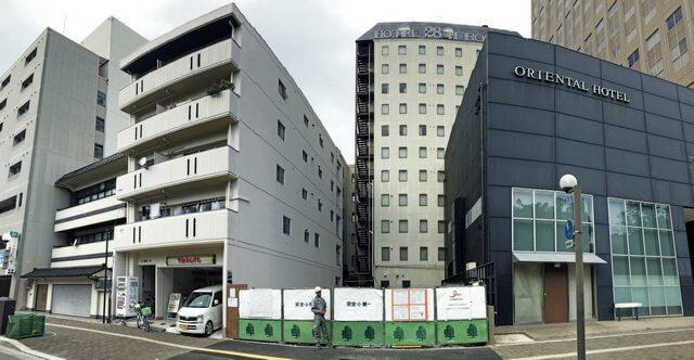 広島のリバックスが平和大通り沿いに宿泊施設を建設中