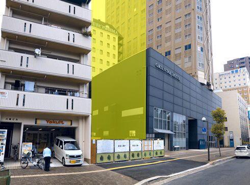 広島平和大通りに簡易宿泊所、オリエンタルホテル広島隣に新ビル