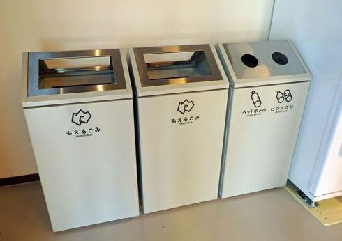 宮島の街なかに設置のない「ごみ箱」も