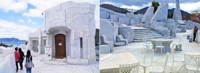 カフェクオーレ、耕三寺 未来心の丘にある大理石カフェ