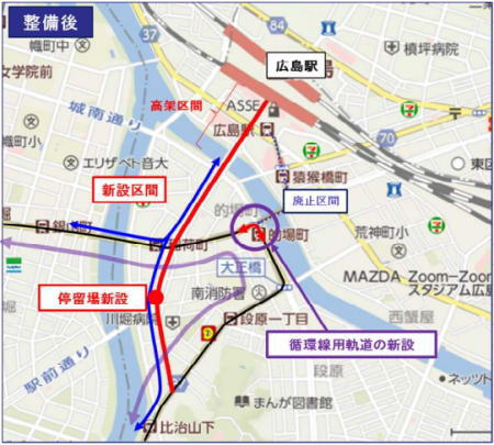 広島電鉄 駅前大橋ルート 図