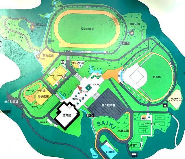 佐伯総合スポーツ公園 公園の全体図