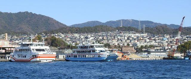 宮島口の工事が進む厳島港 2018年3月時点