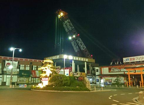 厳島港へリニューアル、工事の様子