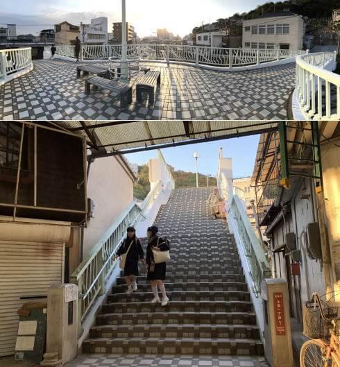 尾道商店街から陸橋を渡って小学校方面へ