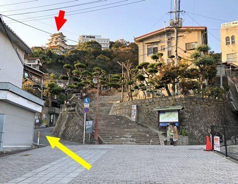 尾道商店街から尾道城まで歩いて450m