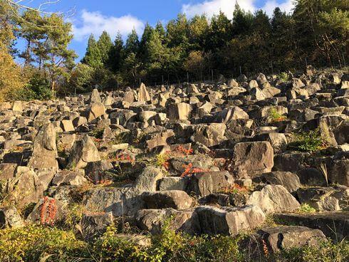 転石庭園が圧巻!安佐サービスエリア(下り線)の背後に1万個の巨石と滝のある風景