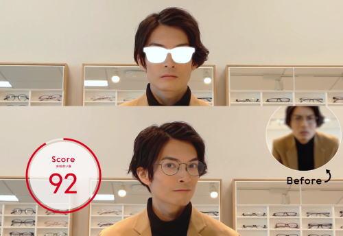 ジンズ広島本通り店、バーチャル試着の「メガネ オン メガネ」世界初のサービス