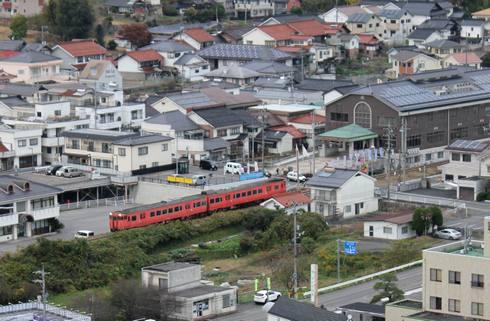 安芸高田市 丸山公園 展望台から見える芸備線の風景