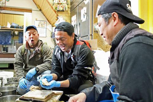 江田島でカープ長野選手が、初めてのカキの殻割りに挑戦