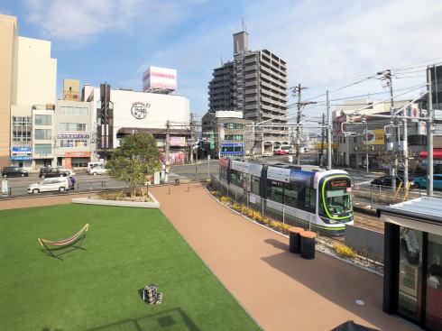コイプレ 広電西広島駅横のスペース 緑地の俯瞰写真