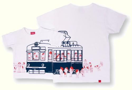 かわいい路面電車Tシャツ、カープ×広島電鉄×オジコの3社コラボで