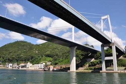 尾道大橋と新尾道大橋 尾道水道から見た二つの橋
