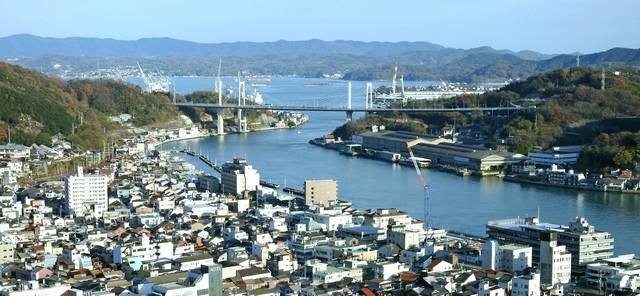 尾道大橋と新尾道大橋 橋と尾道水道