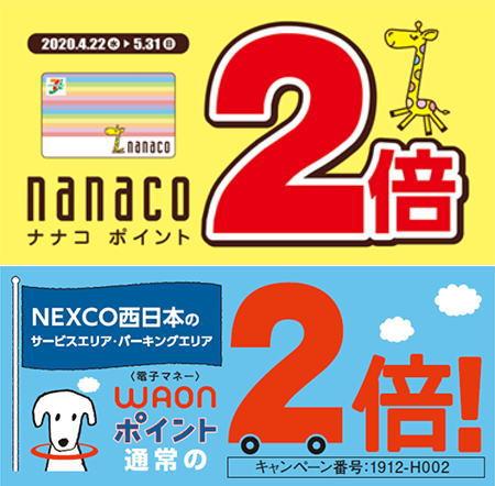 ネクスコ西日本 高速道路のPA・SAでナナコとワオンはポイント2倍