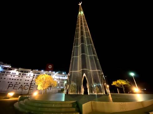 パラダイスの塔(広島・宇品のスターツリー)夜景