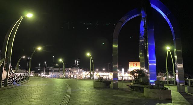 海田町 ひまわり大橋、ブルーライトアップ開催時の様子