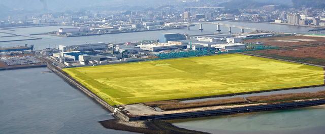 カルビー新工場、場所は五日市港の埋立エリア