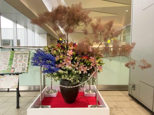 広島駅 コロナの影響受ける花業界から花の展示2