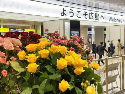 広島駅に2000本の花束、コロナの影響受ける産地から