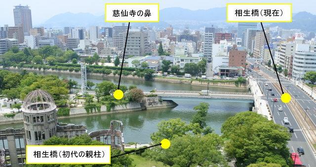 初代の相生橋は、親柱の残る場所から慈仙寺の鼻に架けられていた