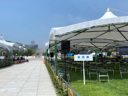 平和記念式典 会場準備の様子