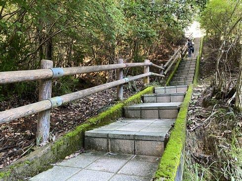 郡山公園展望台へ向かう長い階段