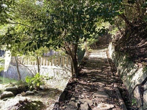 清神社神楽殿の裏から、郡山公園展望台への山道へ入る