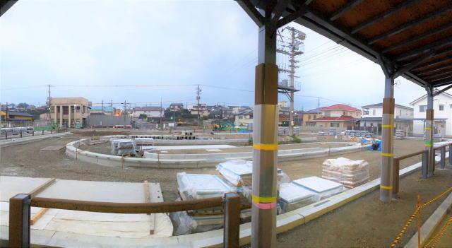 備後庄原駅 駅前ロータリー工事中の様子
