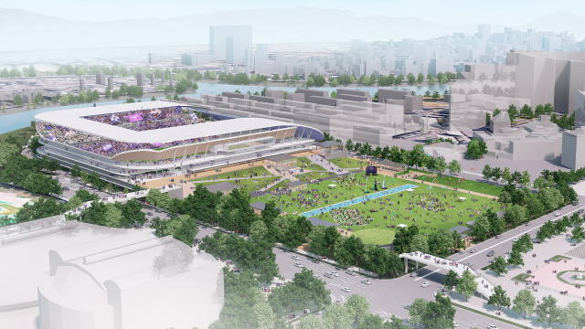 サンフレ スタジアムパークイメージ公開、広大な芝生広場も備える広島の新ランドマークへ